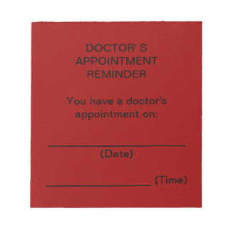 Red Doctor's Appointment Reminder Notepad Memo Pads