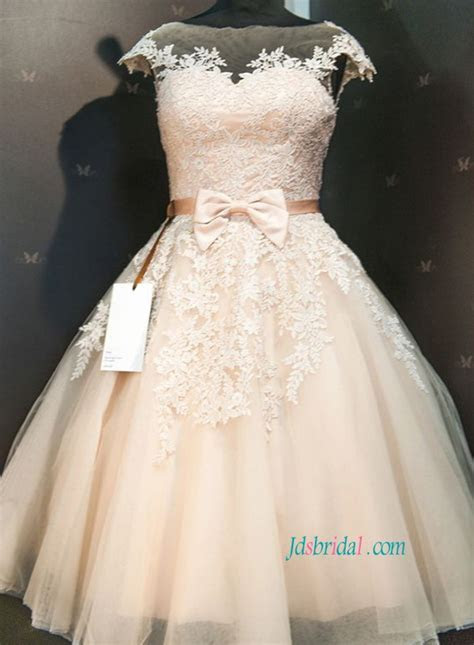 champagne colored tea length wedding dresses