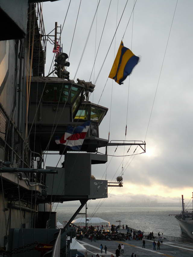 View from walkway leading to Hornet's bridge, of the stern, band, and bay