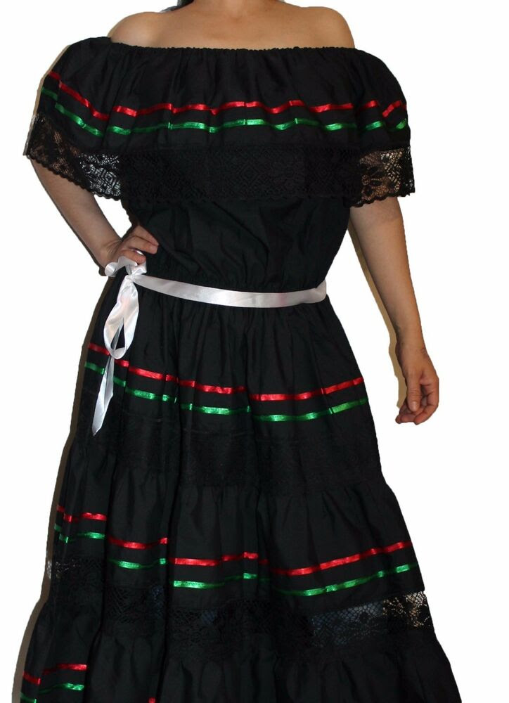 tricolor peasant mexican lace dress off shoulder cinco de