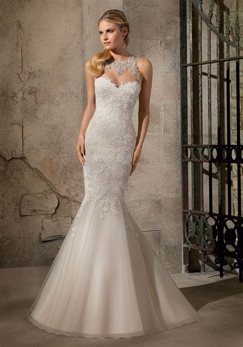 Appliques on Net with Crystals Wedding Dress   Style 2723