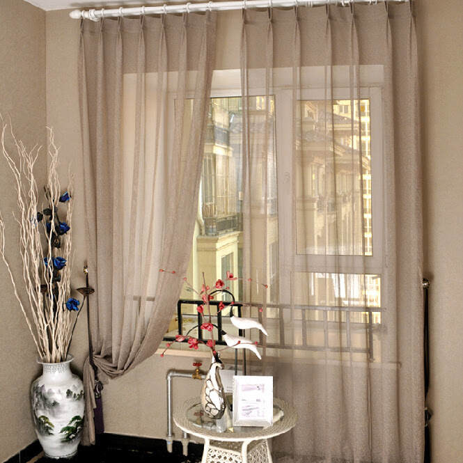 Coffee Colored Sheer Curtains for Living Room and Bedroom