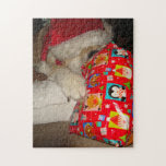 Cute akita in red santa hat christmas gift jigsaw puzzles