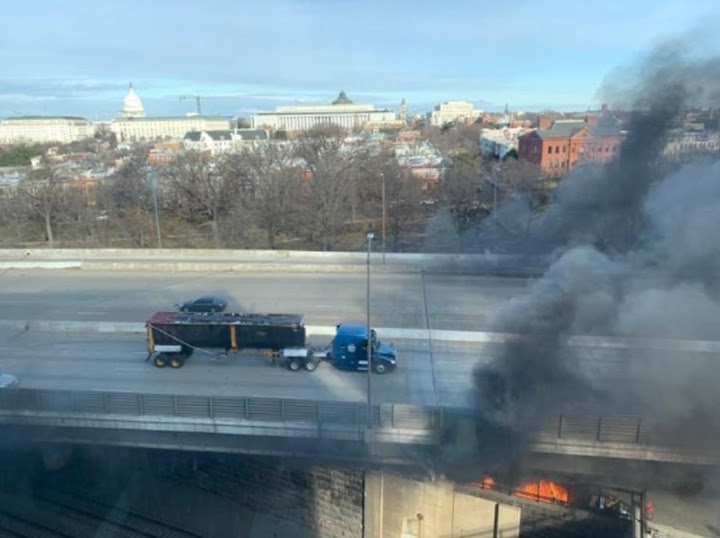 Biden inauguration rehearsal is called off as fire breaks out at a bridge behind the US Capitol Building amid fears of an imminent