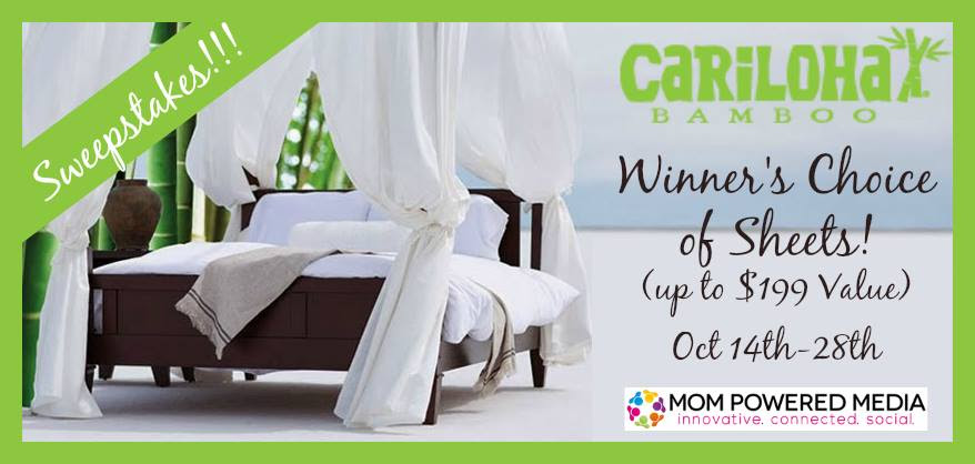 Enter the Cariloha Bamboo Sheets Giveaway. Ends 10/27.