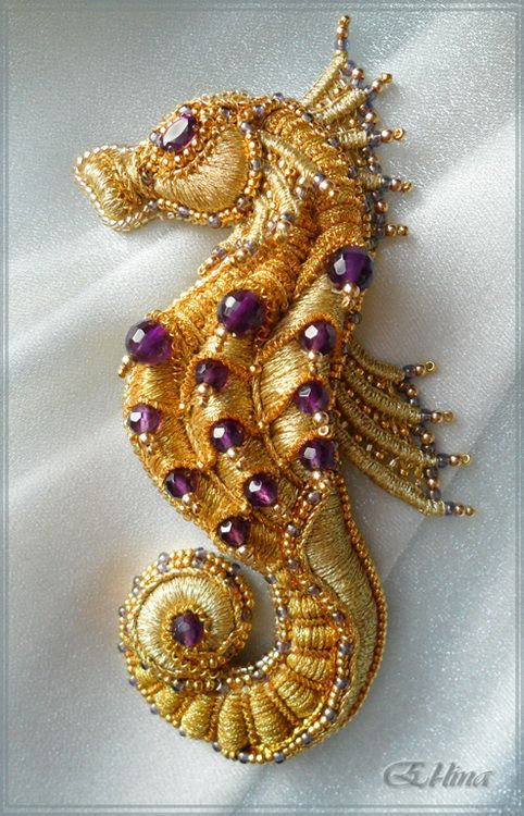 Seahorse. Embroidered brooch. Handmade. Goldwork embroidery. Beadwork. Needlepoint. Needle lace.