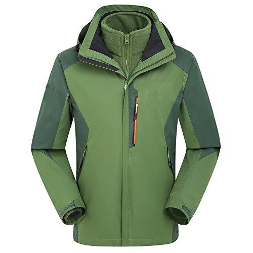 (セントブリッジ)St. bridge ジャケット メンズ アウトドア 登山 二層 取り外す可能 防寒服 軽量 保温 防風 通気 春秋冬用 グリーンXXL