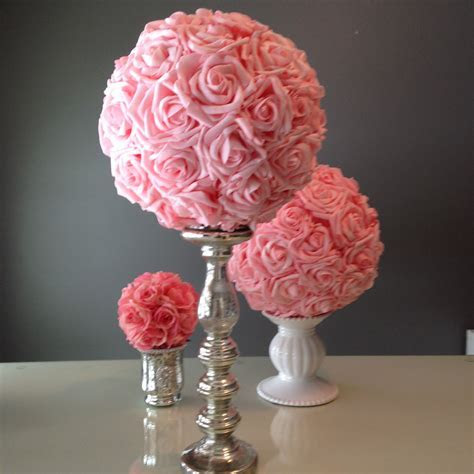 Pink kissing balls for wedding centerpieces   The Smaller