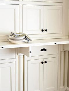 Pull-out retractable counter ledge