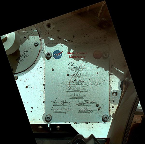A plaque on the Curiosity Mars rover that features the signatures of President Barack Obama, Vice President Joe Biden and other U.S. public officials...as seen by MAHLI on September 19, 2012.