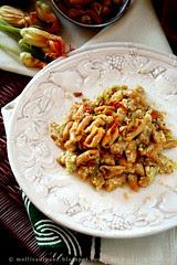 Cavatelli di fiori di zucca con crema di zucchine