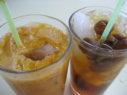 iced milk tea and longan drink
