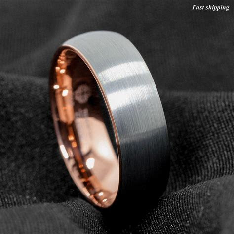 8mm Tungsten ring Silver Brushed Rose Gold Inlay Wedding