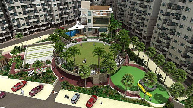 Landscape and Amenities in Vanalika Pirangut - upcoming township of 1 BHK & 2 BHK Flats on Paud Road - 8 kms from Chandani Chowk Kothrud Pune