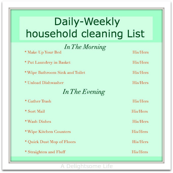 Household Chore Schedule - A Delightsome Life