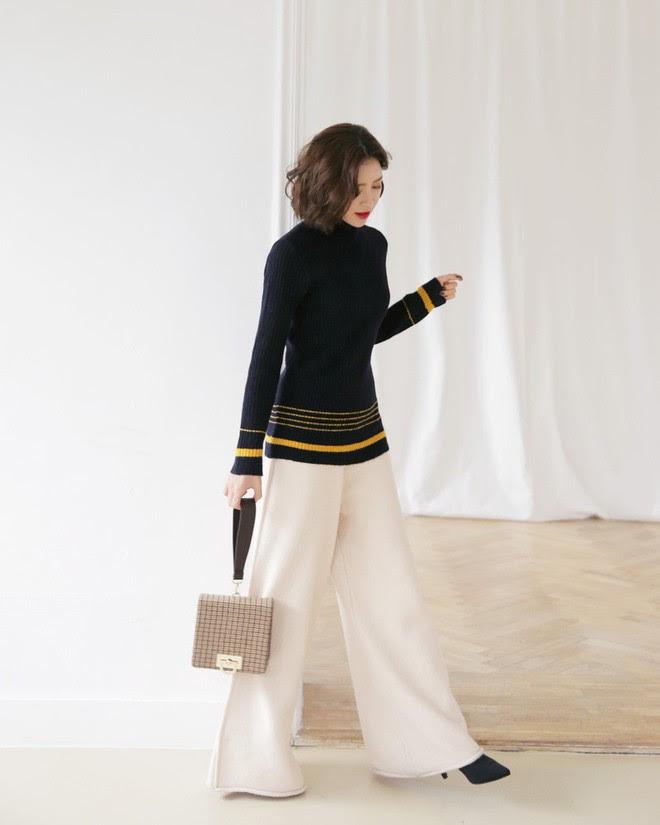 Áo len kẻ nhiều màu đang hot và đây là 3 kiểu quần rất ăn ý để kết hợp cùng - Ảnh 13.