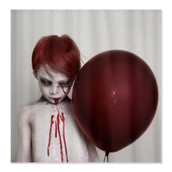 Red Ballon Shower Curtain goth macabre zombie by lockedillusions