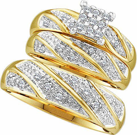 Men's Ladies 10K Yellow Gold 0.27 Ct. Round Diamond Engagement Ring Wedding Band Bridal Trio Set: Jewelry