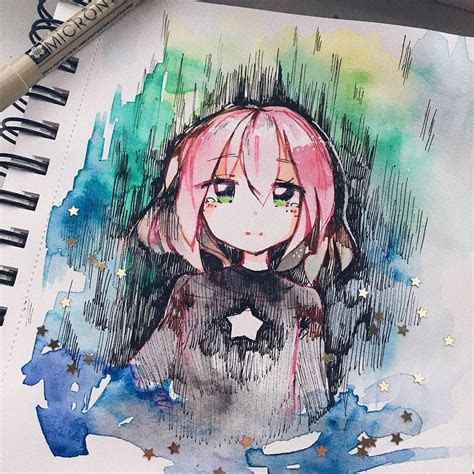 osu pippi traditional drawing watercolor doodle