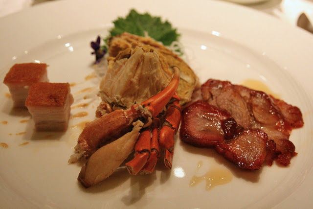 Teochew style cold crabs; BBQ Pork with Honey/Crispy Roasted Pork Belly