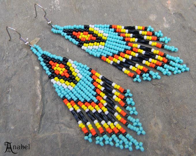 Яркие бирюзовые этнические серьги купить в интернет-магазине бисерных изделий.