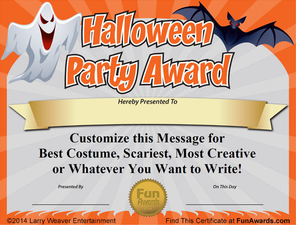 Halloween Party Award Certificate