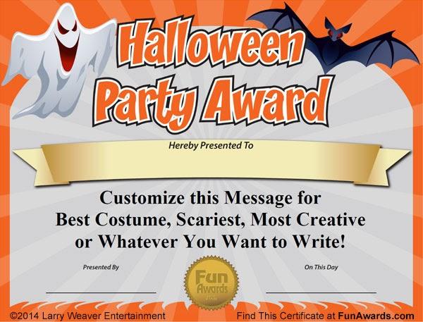 Funny Award Ideas: Halloween Awards - Free Printable ...