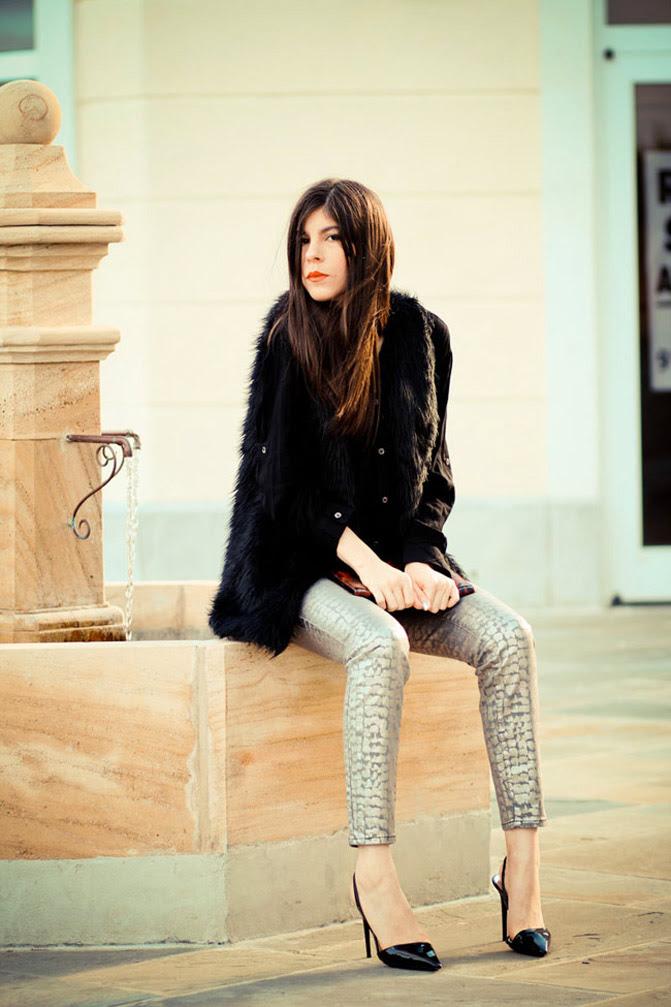 snakeskin metallic jeans, Stella McCartney heels