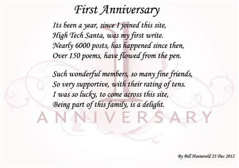 One year anniversary Poems