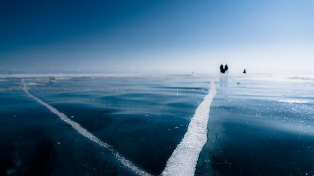 Frozen Lake Baikal - People on Ice