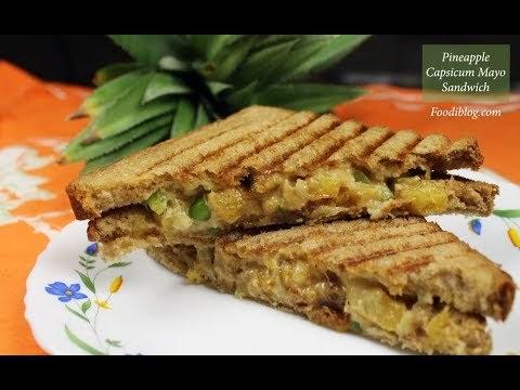 Pineapple and Capsicum Mayo Cream Cheese Sandwich