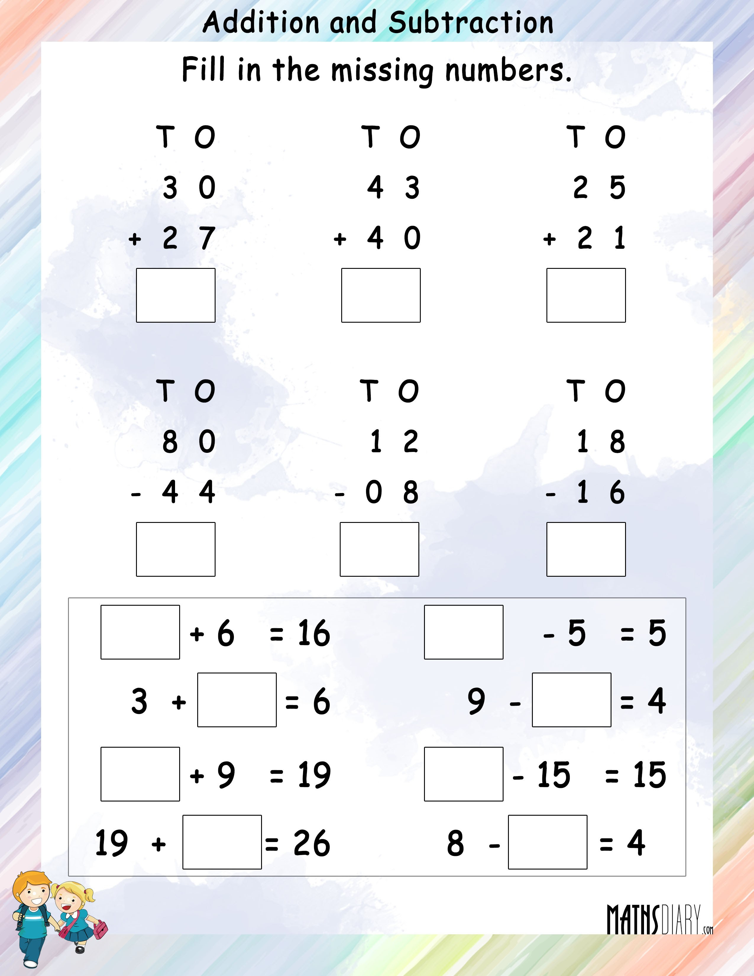 Addition and subtraction worksheet 4