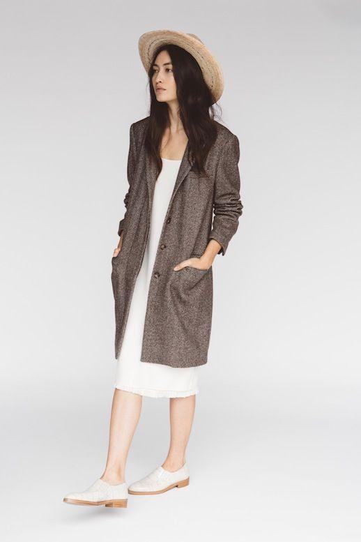 Le Fashion Blog Jenni Kayne Resort 2016 Straw Hat White Midi Dress Brown Coat White Oxfords Via Style Com