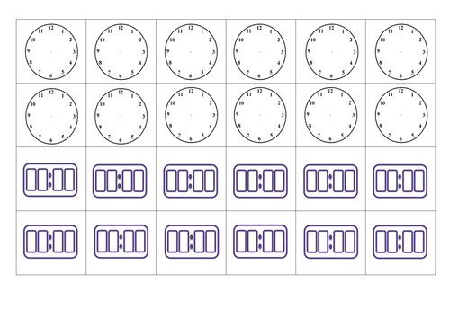 Blank analogue and digital clock matching cards by Miss_N ...