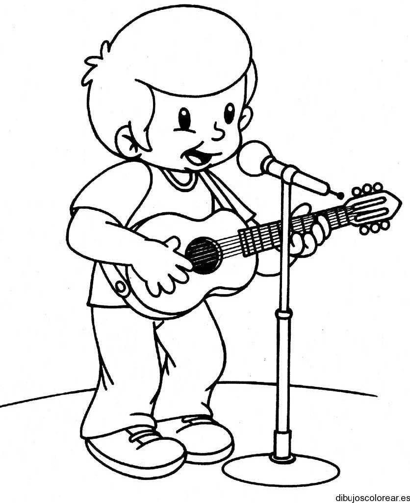 Dibujo De Un Nino Tocando Guitarra