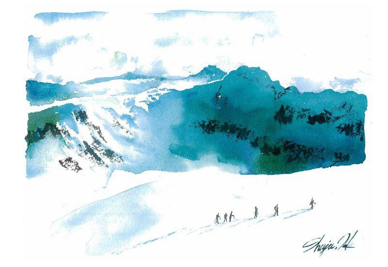 Sw29 ハイクアップ 雪景色 雪山 水彩イラストレーター