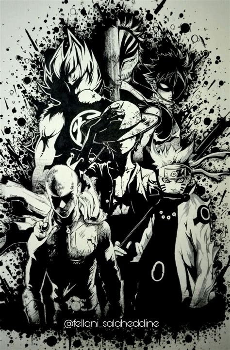 legendary anime heroes goku ichigo natsu luffy saitama
