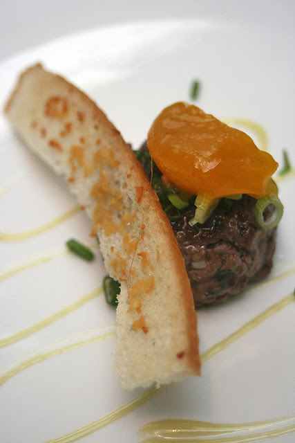 Seared Beef Tartare - truffle miso infused creamy egg yolk, chopped spring onion, light wasabi mayo, crouton