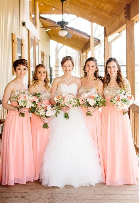 southern wedding pink  gold bridesmaids