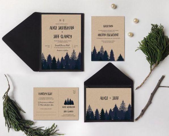 Wald-inspirierten Hochzeit, Einladungen in navy und neutral, wird nicht für einen waldigen Berg-oder Hochzeit mit einem rustikalen Gefühl