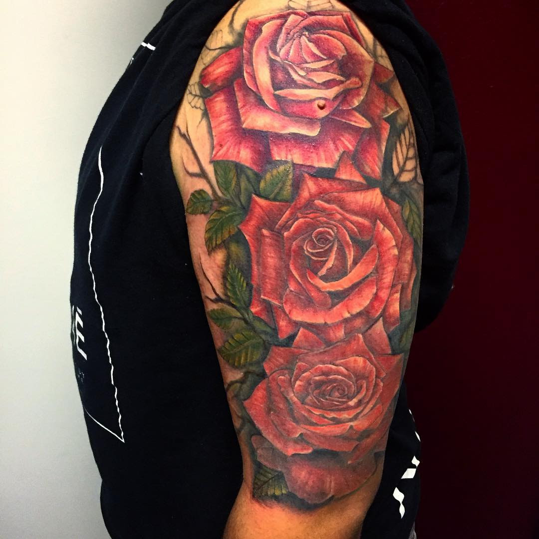 Skull And Red Rose Sleeve Tattoo By Natan Alexander