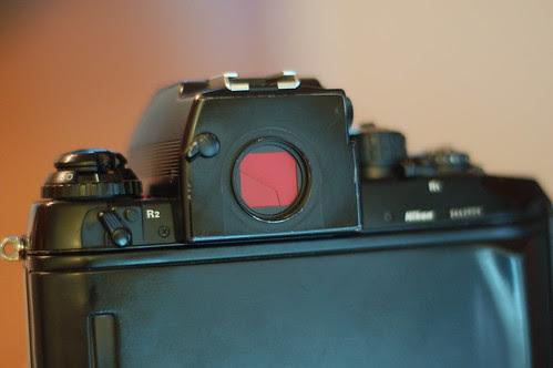 Derek's Nikon F4s - closed viewfinder eyepiece shutter