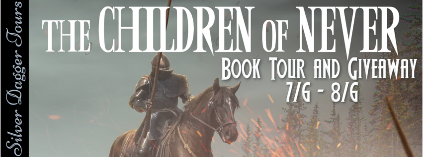 Book Tour Banner for the epic fantasy The Children of Never from The War Priests of Andrak Saga by Christian Warren Freed with a Book Tour Giveaway