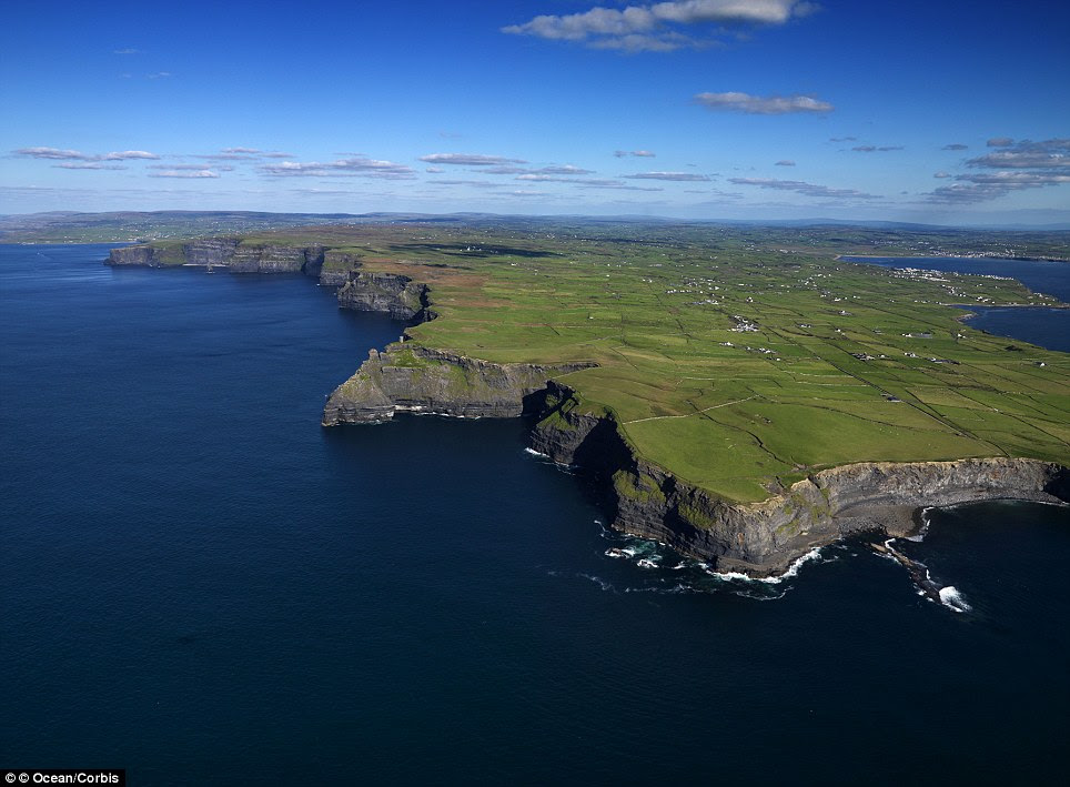 Home grown: The UK's representation comes in the form of the spectacular Cliffs of Moher in County Clare, Ireland