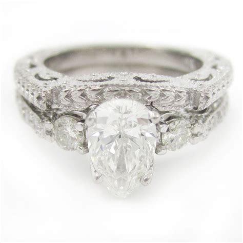 Pear Shape Antique Style Diamond Engagement Ring & Wedding