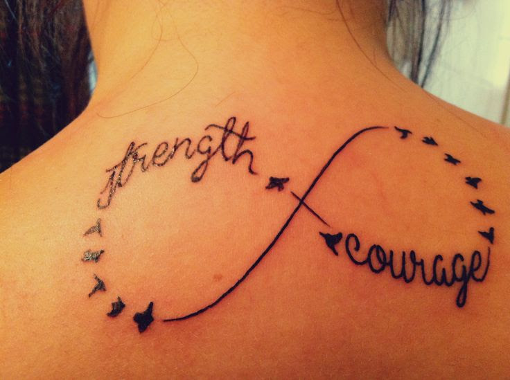 Strength And Courage Tattoos On Upperback