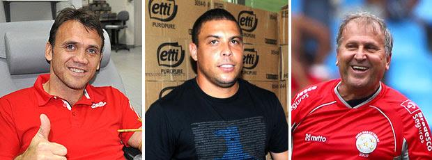 montagem Petkovic Ronaldo Zico pelada (Foto: Editoria de Arte / GLOBOESPORTE.COM)