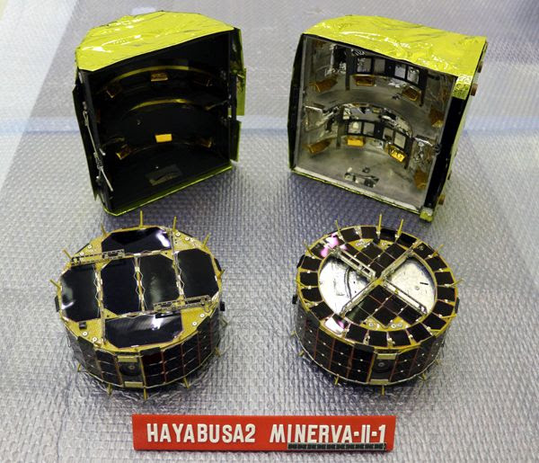 A photo of the two MINERVA-II-1 rovers before they were installed aboard Japan's Hayabusa2 spacecraft.
