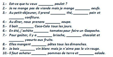 Rodzajniki określone, nieokreślone i cząstkowe - ćwiczenie 1 - Francuski przy kawie