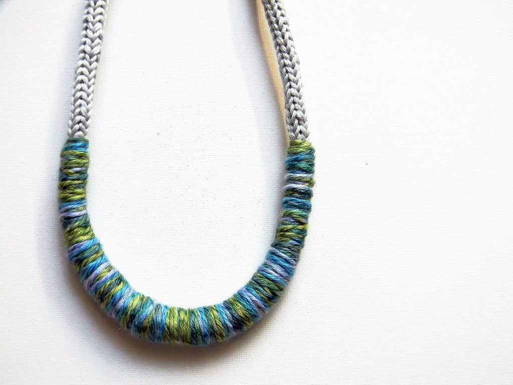 Grey pearl and mixed colors knitted cotton yarn necklace Camilla - pale blue, turquoise, apple green - ylleanna